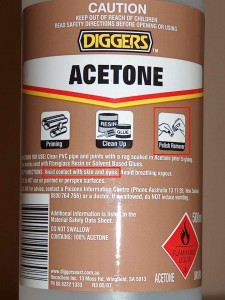 Acetone suggested uses and warning messages.